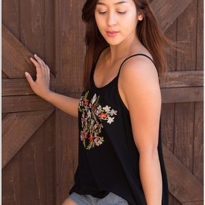 Floral accent tank top